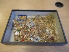Large Quantity of Good Quality Rolled Gold Brooches, Chains, Bracelets and Gilt Costume Jewellery