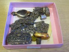 Totroise Shell Lorgnette, antique Belt, Silk Lined Purse, Sewing Neccesaire etc