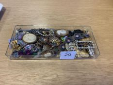 Vintage Costume Jewellery including a Micro Mosaic Bracelet, Cameo Type Brooches
