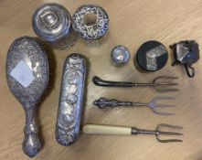 Box of Hallmarked Silver and Silver Handled Items to include two silver topped glass jars etc