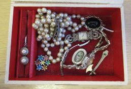 2 x Marcasite Wathces, Art Deco 935 Silver Clasp, Silver Locket, Enammelled Flower Booch Marked 'Sil