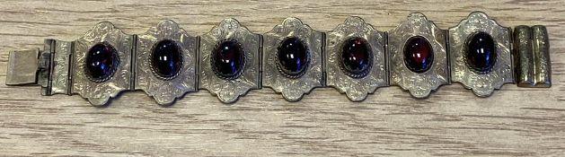 Antique Cabochon Bracelet, finely engraved