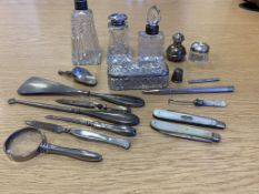 Fifteen Various Hallmarked Silver Items to include Fruitknives, Scent Bottles, Thimble etc