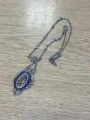 Edwardian Suffragette Pendant Necklace with Internal Chain marked Sterling
