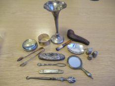 London Hallmarked Silver Vase Marked 925, Caddy Sppon, Silver Hallmarked Thimbles, Dressing Table Pi