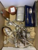 Hallmarked Sheffield Silver Christening Set (Boxed) Miscellaneous Serving Items, Cutlery, Hip Flask