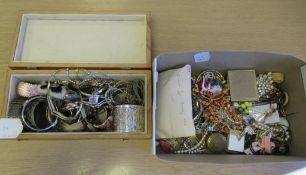 2 x Boxes of Costume Jewellery including a Cloinsonne Bracelet etc