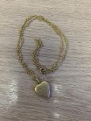 Edwardian Diamond and Seed Pearl Heart Pendant and Chain indistinctly marked