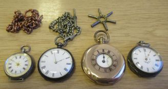 2 x Silver Fob Watches, Rolled Gold Half Hunter Pocket Watches, Watch Chain and Key etc