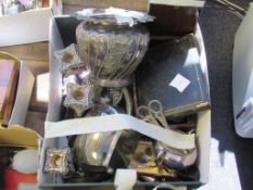 Victorian Silver Plated Jardiniere and Other Miscellaneous Plate to include Hallmarked Silver Handle