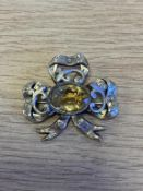C19th Citrine Bow Brooch, Yellow Metal, apparently unmarked