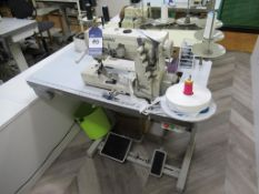 A Kansai Special WX-8803D 3 Needle Top and Bottom Cover Stitch Industrial Sewing Machine complete wi