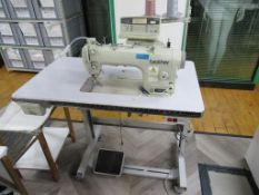 A Brother S-7200B- 403 Single Needle Direct Drive Straight Stitch Sewing Machine with Electronic Fee