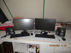 2x Dell Flat Screen Monitors, 2x Keyboards, Mouse