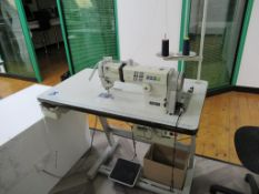 A Brother Exedra DB2-B737-413 Single Needle Straight Stitcher Complete with Table