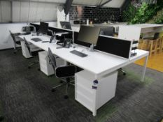 Back to Back' Office Compact Bench Desks with 6 x Mobile Office Chairs and 6 x Matching Pedestals