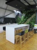 White High Top Dining Table with 10 Bar Stools