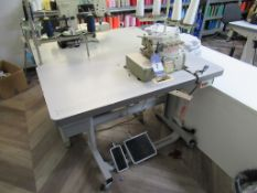 A Yamato CZ6020-Y6DF 2 Needle 4 Thread Over Lock Industrial Sewing Machine complete with Table
