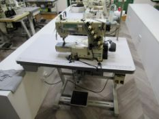 A Yamato VC-2730-15GM 3 Needle Top and Bottom Cover stitch Industrial Sewing Machine with Thread Tri