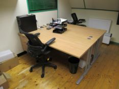 Content of 5 Offices to include Various Desks, Office Chairs, Pedestals, Wooden Work Benches, Cupboa