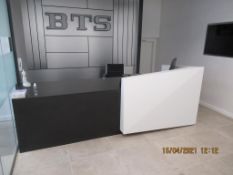Dark Wooden Effect Reception Desk with Mobile Chair