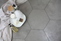 NEW 3m2 City Chic Soft grey Satin Hexagon Ceramic Wall tile, Pack of 50, (L)150mm (W)173mm. Muted,