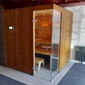 KLAFS Lounge Sauna, comprising wenge veneer exterior cladding, hemlock veneer interior walls and