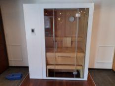 KLAFS S1 Retractable Sauna (Size S), comprising white exterior, hemlock veneer interior, obeche