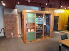 KLAFS Proteo Sauna, comprising Proteo style with varnished framing external cladding, with feature