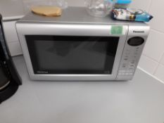 Assortment of kitchen sundries, to include Panasonic microwave, Delonghi coffee machine, toaster,