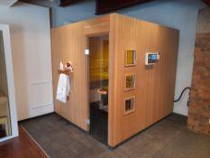 KLAFS Premium Sauna, comprising hemlock veneer exterior cladding, solid hemlock Softline boards to