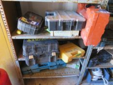 Content to three shelf to include Makita, DeWalt power tools, Drill set, qty of Paslode pins and nai