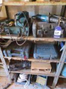 Content to three shelf to include Makita and Bosch Power Tools