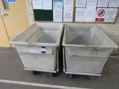 4 Various Mobile Plastic Baths and 1 additional bath (no trolley)