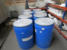 8 Drums of various Raw Polystyrene Bead (7 near capacity and 1 part drum)