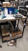 Vanguard Bench Top Lever Punch, unbadged manual eyeletter and pneumatic bench top punch with bench