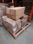 5 Pallets of cardboard cartons, plastic inserts, plastic spreaders & paint sets etc., five pallets