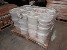 1 Pallet of finished paint, approx.. 36 tubs, various colours, one pallet