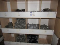 Contents to Wood Storage Unit to include Various Plastic Fittings and Clips, e.g. Square Pipe