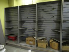 6 Bays of MDF Slat Showroom Display Stands with Assorted Accessories included. eg Pegs, Shelves,