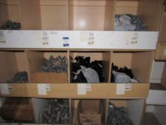 Contents to Wood Storage Unit to include Various Plastic Fittings and Clips e.g. Branch Tee, 32mm