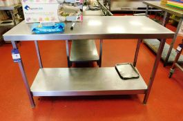Stainless Steel Bench with Under Shelf Aprx (1400x600)