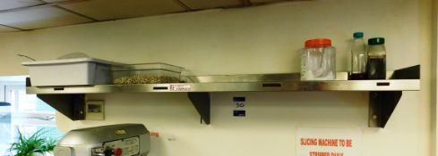 2x Stainless Steel Wall Mounted Shelving Units Aprx (1800x300) and (1500x300) To Include