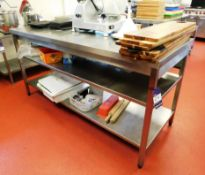Stainless Steel Bench with 2x Under shelves Aprx (1800x700)