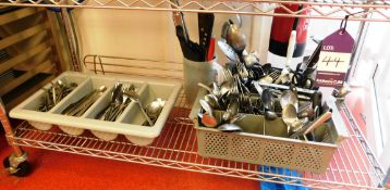 Contents of Shelf to Include Quantity of Cuttlery and Various Cooking Utensils