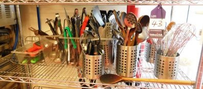 Contents of Shelf to Include Quantity of Cooking Utensils (Shelf Not Included)