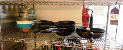 Contents of Shelf to Include Approx 14 Frying Pans, and Quantity of Mixing Bowls (Shelf Not
