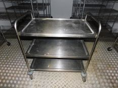 Stainless Steel Three Tier Mobile Trolley