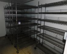 4x Mobile Adjustable Wire Shelving Units Approx (1200x450)