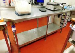 Stainless Steel Bench with Under Shelf Aprx (1850x630)
